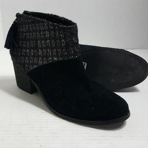 Tom's Leila Bootie black silver wool stacked heel